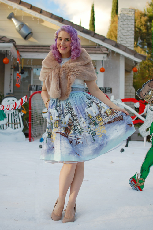 Bernie Dexter Osterley dress in Winter Wonderland print 006