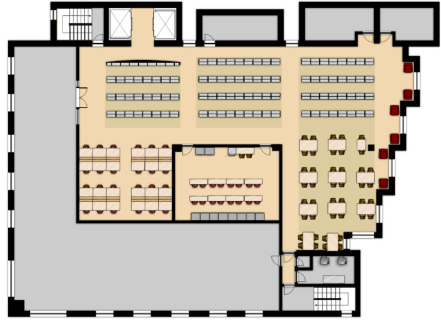 Map of the second floor of the California Western Law Library.