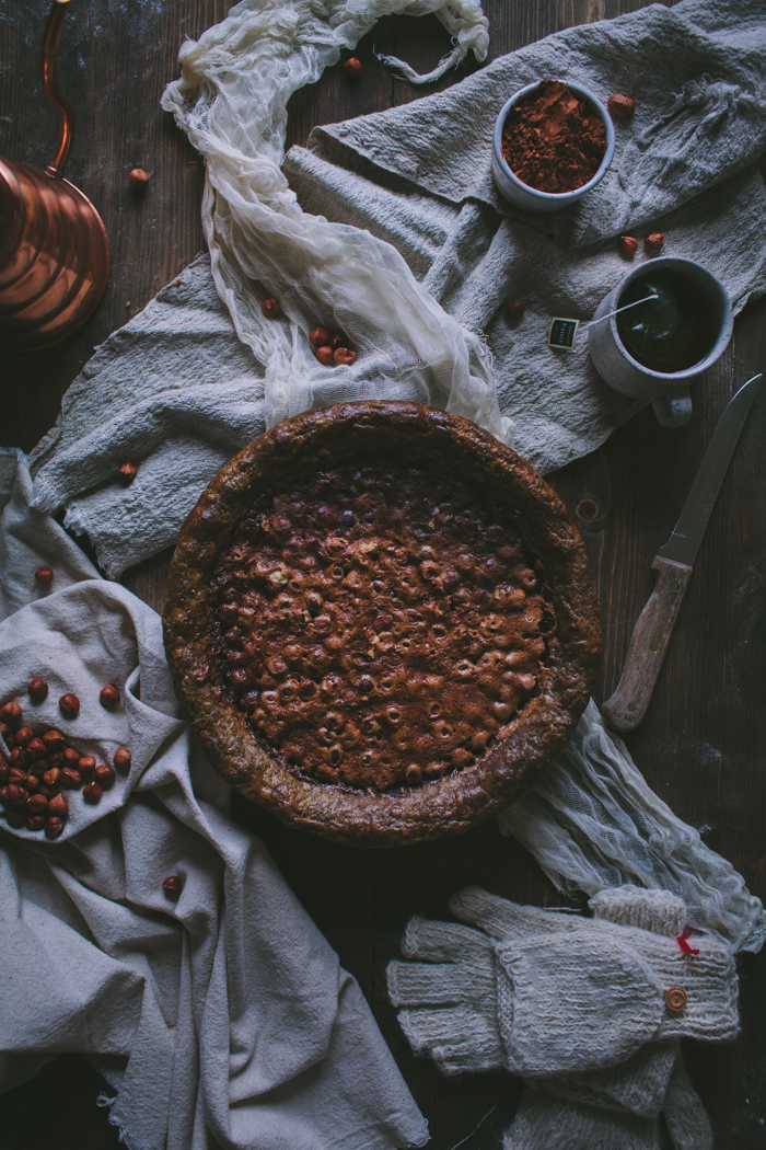 Hazelnut Chocolate Chess Pie With A Buckwheat Crust by Eva Kosmas Flores | Adventures in Cooking