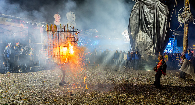 Toro de fuego: a bull-resembling metal frame, with fireworks attached to it, is set alight, and then a person carrying the frame runs around town at night - Chichicastenango, Guatemala