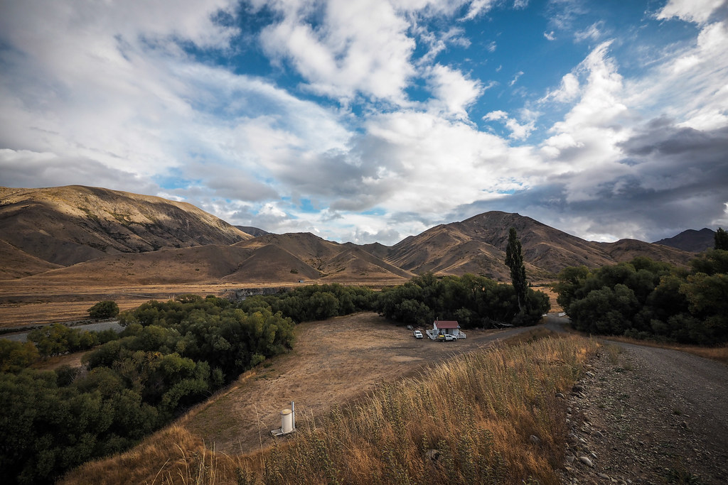 Looking over Acheron Cottage campsite, Molesworth Muster Trail, New Zealand