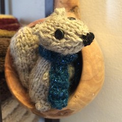 Brandie Bond is one silly sneaky lady. Just found one of her delightful knitted woodland creatures hiding in my bathroom. This takes our squirrel infestation to a new level. <3