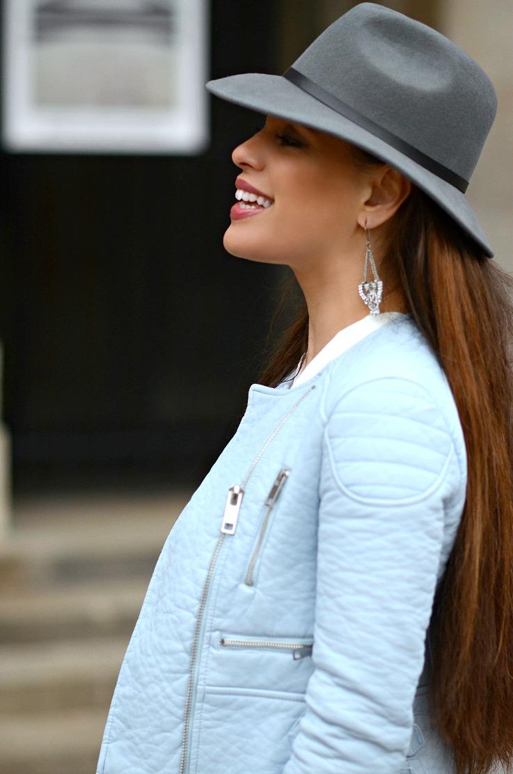 DSC_0710  Tamara Chloé, Baby Blue Moto jacket, Myca Couture, Grey River Island hat2