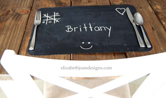 DIY Dollar Store Chalkboard Placemat