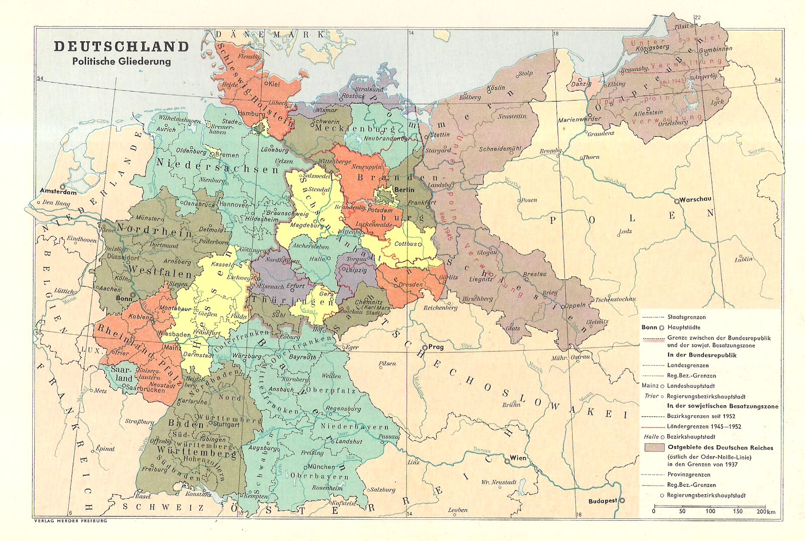 Map showing unified germany and the ussr existing at the same time in this political map of germany the west is called the bundesrepublik but the ddr is not recognised as a nation its still called the soviet occupation gumiabroncs Image collections