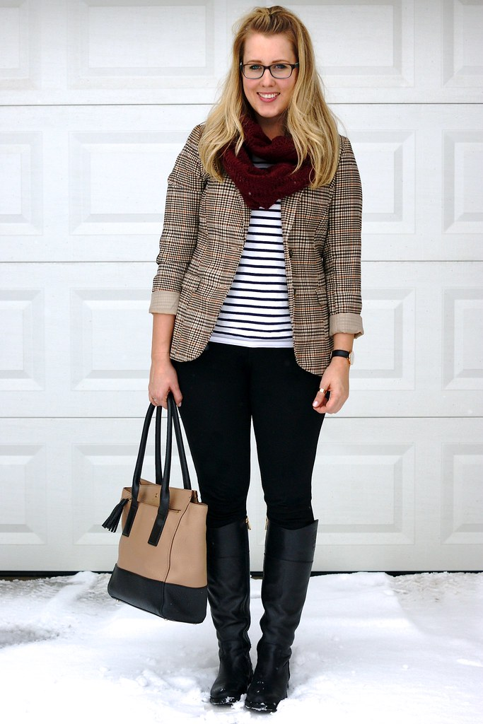 tweed blazer and striped shirt