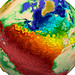 The paint-like swirls of this visualization from Los Alamos National Laboratory depict global water-surface temperatures, with the surface texture driven by vorticity.