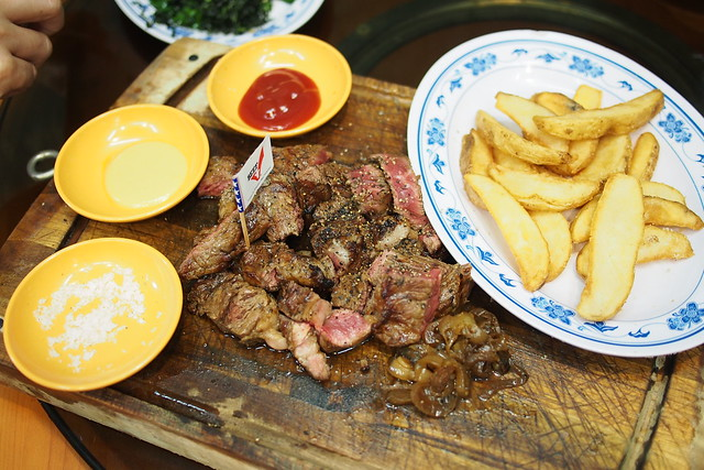 U.S. beef steak with fried onions, wedges, fried rice. Medium-rare. New Ubin Seafood, Sin Ming Industrial Estate