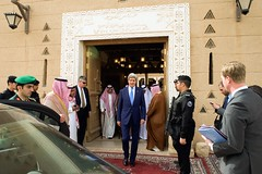 U.S. Secretary of State John Kerry leaves Diriya Farm in Riyadh, Saudi Arabia, after meeting with King Salman of Saudi Arabia at his family home on March 5, 2015. [State Department photo/ Public Domain]