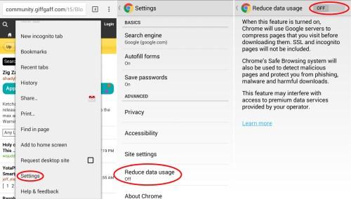 Chrome - Reduce data usage