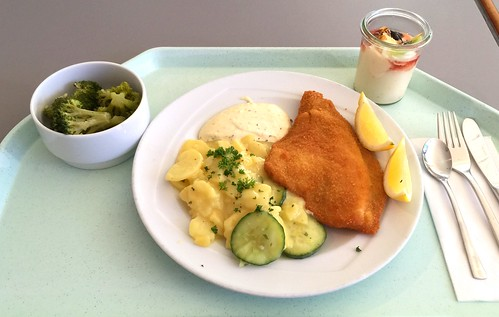 Baked fillet of plaice with remoulade & potato cucumber salad / Gebackene Scholle mit Remoulade & Kartoffel-Gurkensalat