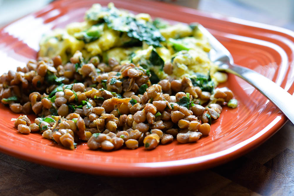 eggs + kale with lentils
