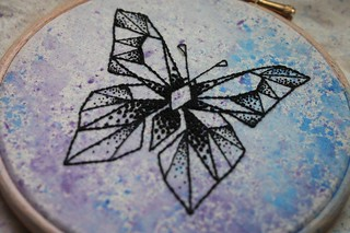 Embroidered Geometric Butterfly