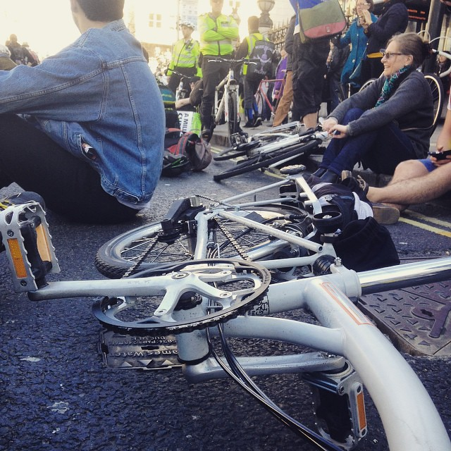 Sit down protest outside the Charing Cross Station. #TimeToAct2015 #TimeToCycle #space4cycling #cycling #cycle