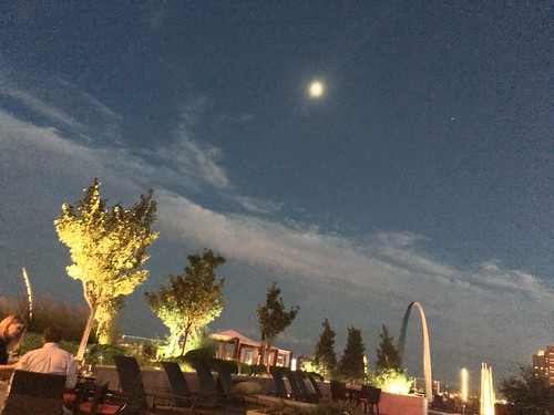 Moon over St. Louis Arch