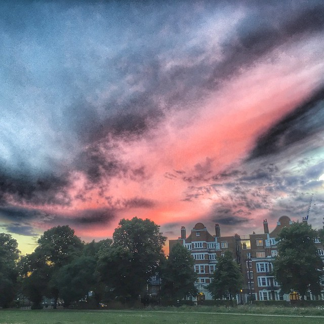 Turnham Green sunset, Chiswick, London