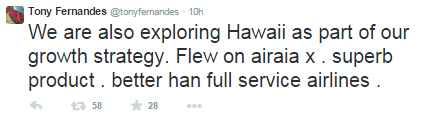 tony fernandes tweet KL hawaii