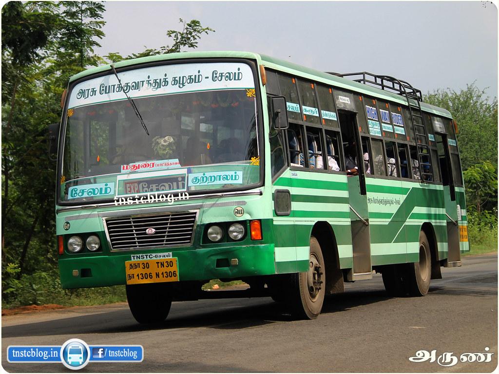 TN-30N-1306 of Meyyanoor Depot Route Salem - Courtallam via Karur, Dindigul, Madurai, Srivilliputtur, Rajapalayam, Tenkasi.