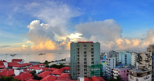 city sunset sea sky seascape building water clouds samsung maldives malecity