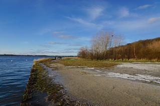 Winter day on the beach of Altefähr on the island of Rügen in Mecklenburg-Vorpommern, Germany