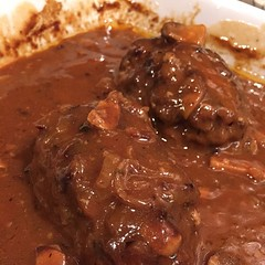 Salisbury Steak, just out of the oven! Perfect for a cold rainy night. #itswhatsfordinner