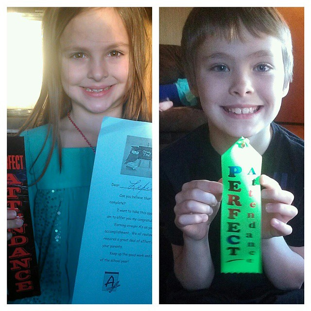 Way to go, Lexie and Dylan! Straight As and perfect attendance for Lexie. Perfect attendance and all As and B for Dylan.