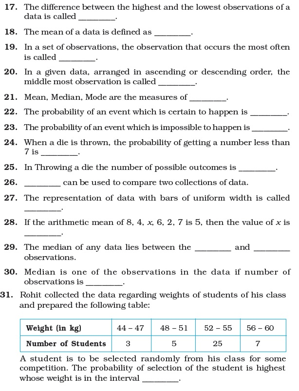 7 Important Questions for Maths Data Handling – Maths Data Handling Worksheets