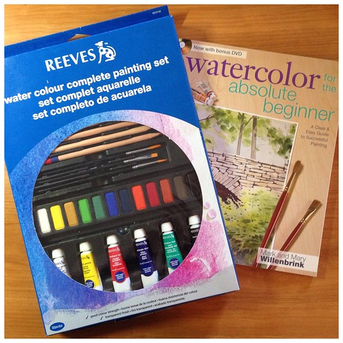 Water colour paints and book
