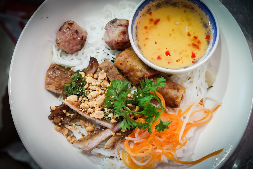 MRS PHO's Vermicelli with Pork and Spring Roll