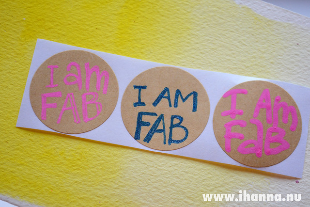 Hand lettered stickers: I AM fab