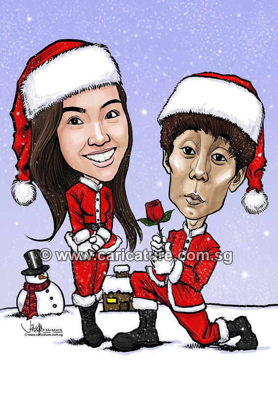 digital couple caricatures celebrating White Christmas (watermarked)