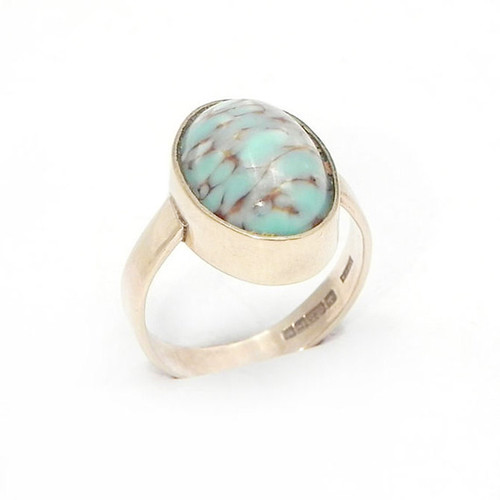 Vintage Gold Ring set with Turquoise Blue + Brown Agate Cabachon - Size 5.5 Handmade