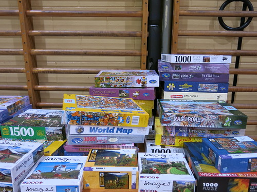 Jigsaw puzzles at Book sale