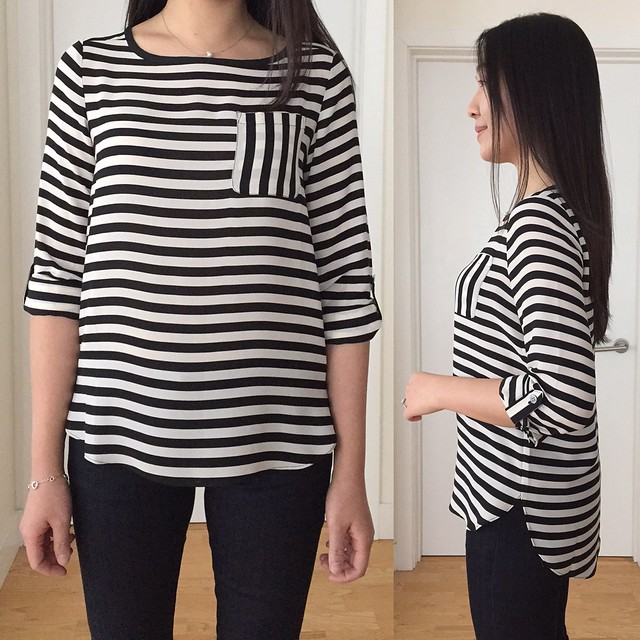 LOFT Bold Stripe pocket blouse, size XXSP