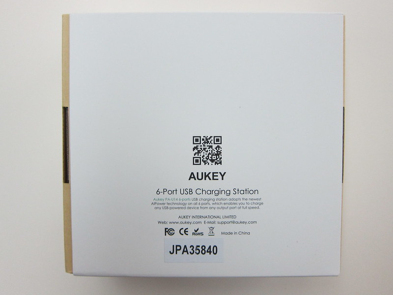 Aukey 50W 5V/10A 6-Port Wall Charger - Box Back