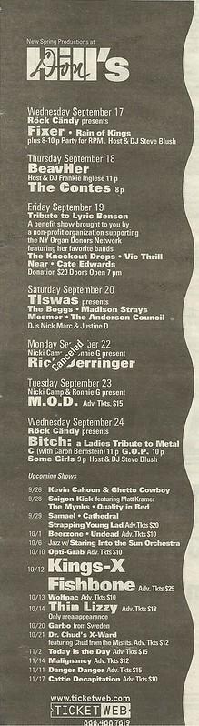 Sept./Oct./Nov. 2003 Don Hill's, NYC, NY