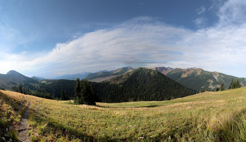 Multi-stitch panorama looking south toward Harts Pass