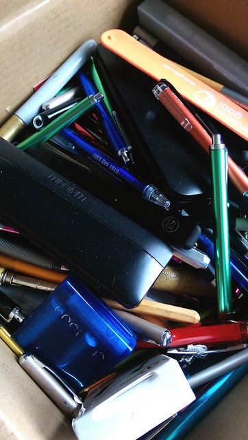 A small box of many styli.