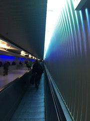 subway, light, line, escalator, darkness, blue, infrastructure,