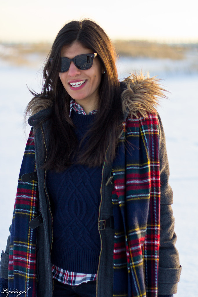 navy sweater, plaid scarf, grey coat.jpg