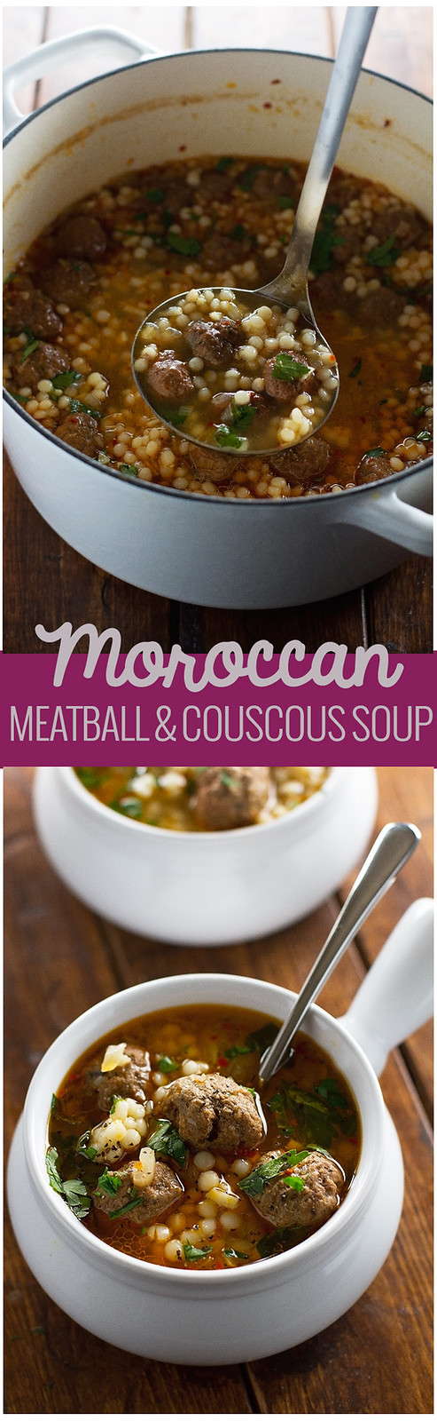 Moroccan Meatball and Couscous Soup - Loaded with tiny meatballs and pearl couscous, this soup is so flavorful! #meatball #meatballsoup #moroccan #couscous   Littlespicejar.com