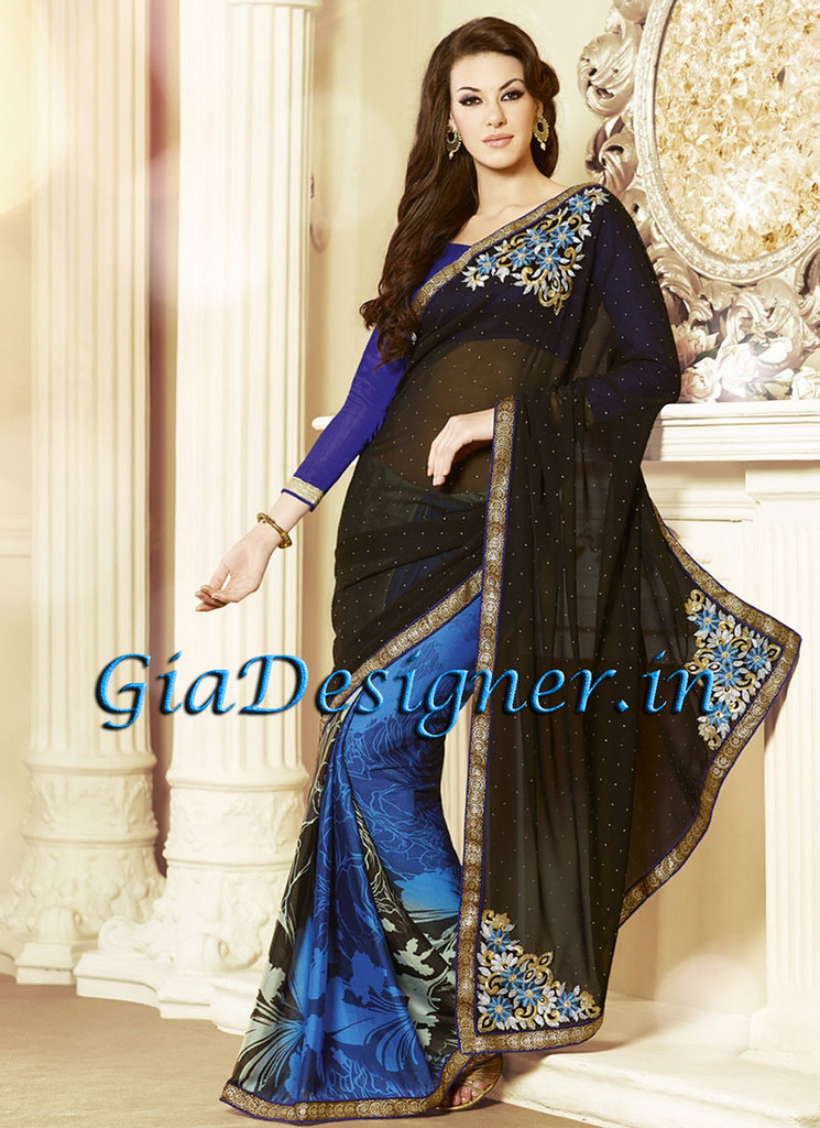 127ebe1ce4e7c6 ... Blue Black Lace and Stone Work Embroidered Designer Saree | by  khadaksingh16