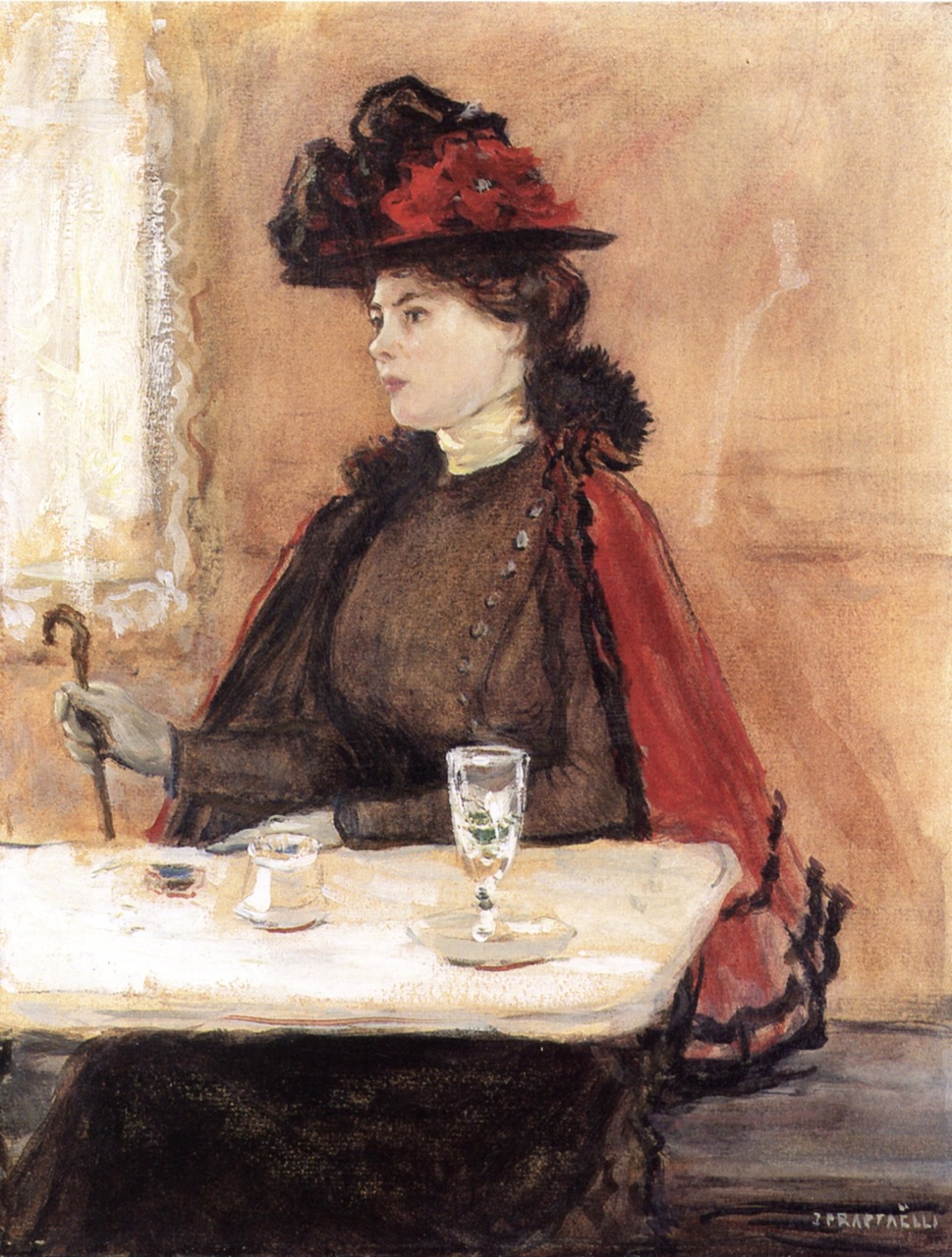 Young Woman in a Cafe by Jean-François Raffaëlli