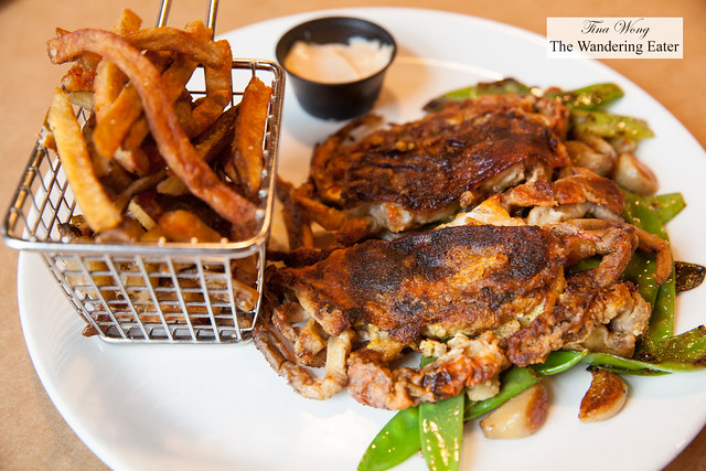 Seared soft shell crabs