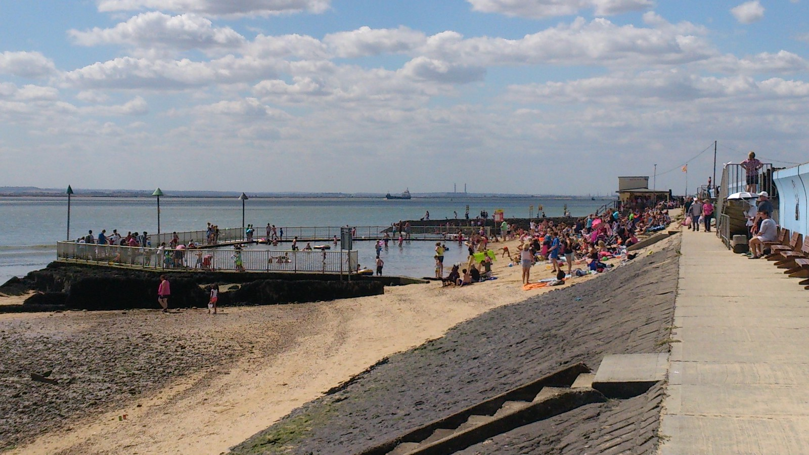 Concord Beach Paddling Pool on hot summer's day SWC Walk 258 Benfleet Circular (via Canvey Island)