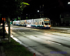 3-Car Sound Transit Train at Night Coming By