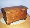 Vintage Handmade Primitive Wooden Box with Hinged Dome Lid