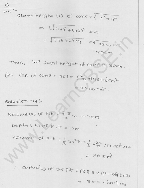 RD Sharma Class 9 solutions Chapter 20 Surface Area and volume of A Right Circular cone Ex 20.2 12