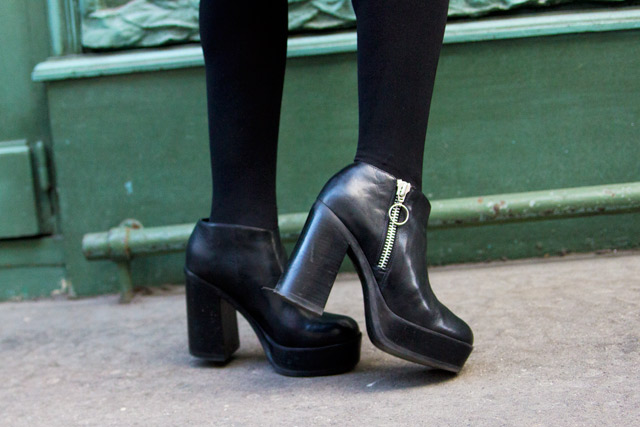 Out From Under Risk Ring-Pull Platform Boots in Black