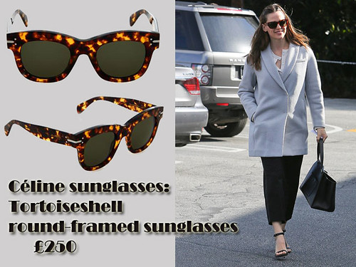 Céline sunglasses:Tortoiseshell round-framed sunglasses with grey coat, blouse, leather handbag & smart trousers